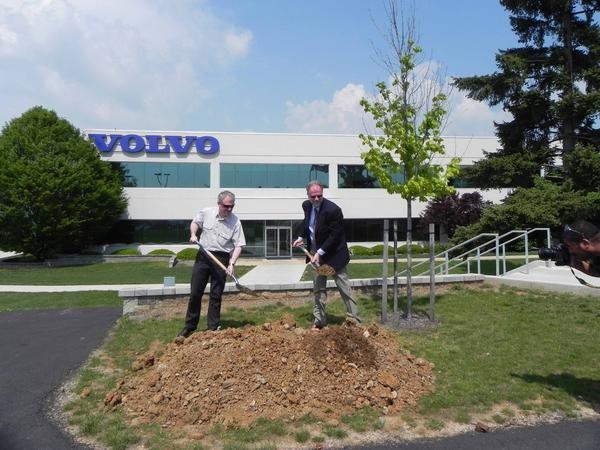 Andy Knight, operations president of Volvo Construction Equipment Americas, and Goran Lindgren, president of sales region Americas, break ground on the first phase of the $100 million expansion of its Shippensburg site at 312 Volvo Way on Friday.