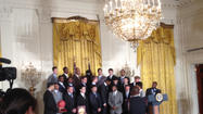 WASHINGTON — The Big Blue Nation invaded the East Room of the White House Friday afternoon as President Barack Obama honored the 2012 National Championship team in front of a packed room filled with cheering fans, family members and friends.