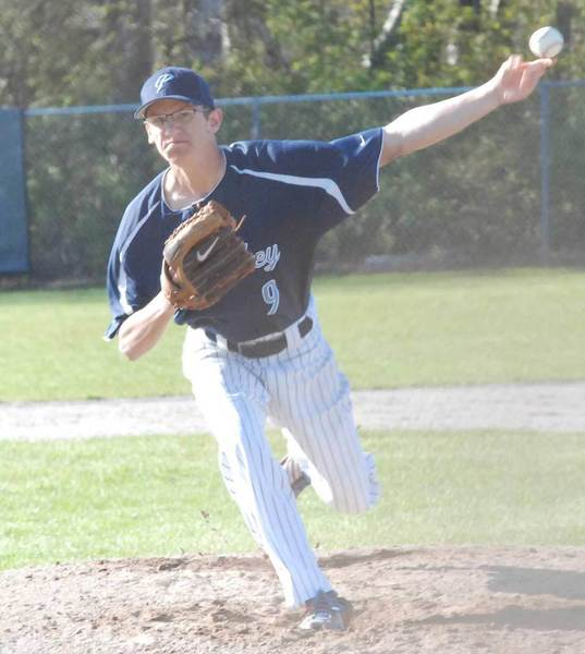 Ken Gray of Petoskey delivers to the plate Friday during his no-hitter over Boyne City. The Northmen swept the Ramblers, improving to 12-2.
