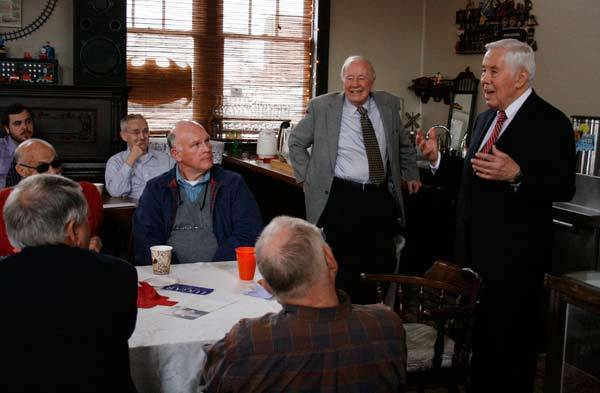 Republican U.S. Senator Lugar of Indiana addresses supporters in a cafe in Crawfordsville, Indiana.