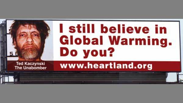Billboard questioning global warming, later taken down.