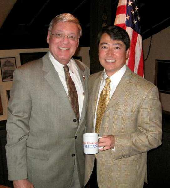 Al Restivo, left, shown here in 2009 with La Canada school board member Joel Peterson, has resigned from the La Canada Flintridge Republican Club.