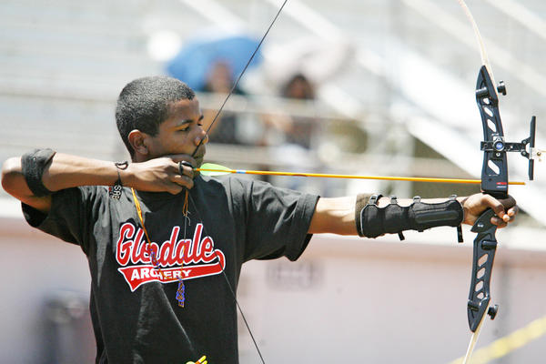 Glendale's Asad Landery, 15, competes in an archery competition, which took place at Glendale High School on Saturday, May 5, 2012.