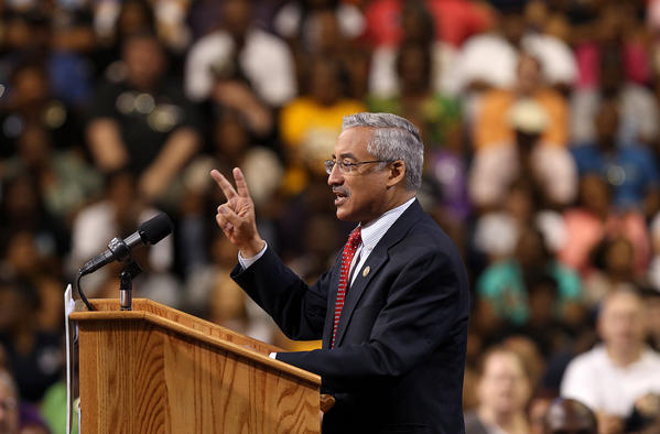 Third district Congressman Bobby Scott talks to the crowd at the Siegel Center gathered for President Obama's campaign kick-off speech Saturday. No Mags, No Sales, No Internet, No TV