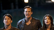 Stephen Moyer, Alexander Skarsgard and Lucy Griffiths as Bill, Eric and Nora