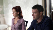 Carrie Preston and Scott Foley as Arlene and Patrick