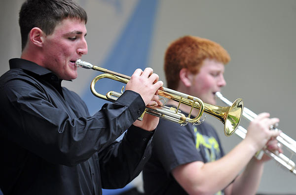 "Andrew Volz, left, and Michael Langmyer of the South High jazz ensemble are featured players during, ""somewhere Over the Rainbow,"" Saturday during Swingin' in the Park jazz Festival at Hagerstown City Park."
