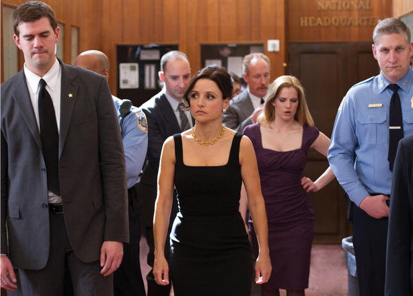"In this March 4, 2011, photo provided by HBO, actress Julia Louis-Dreyfus, center, actor Tony Hale, left, actress Anna Chlumsky, and actor Matt Walsh star in the HBO series ""Veep."""