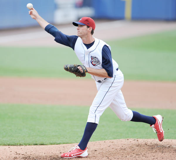 Lehigh Valley IronPigs begin series against Syracuse at Coca-Cola Park on Sunday May 6, 2012.  The IronPigs won the game11-2. In photo, IronPigs, Scott Elarton #30 pitches during the game.