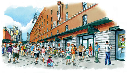 An artist's rendering shows Orioles fans outside of Dempsey's at Camden Yards.
