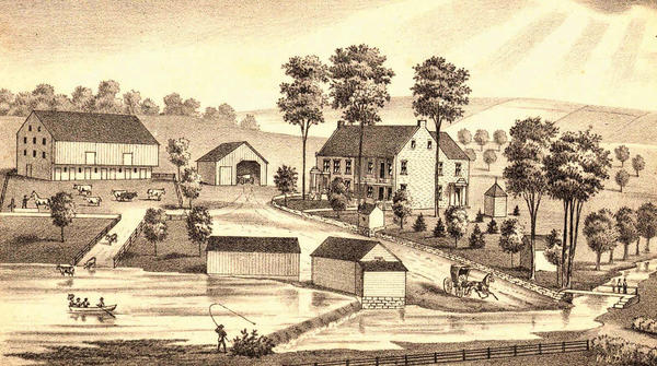 "Shown is a 1878 lithograph of Antietam Farm farmstead by W.W. Denslow, who later gained fame as the illustrator of the first edition of ""The Wizard of Oz"" and other books."
