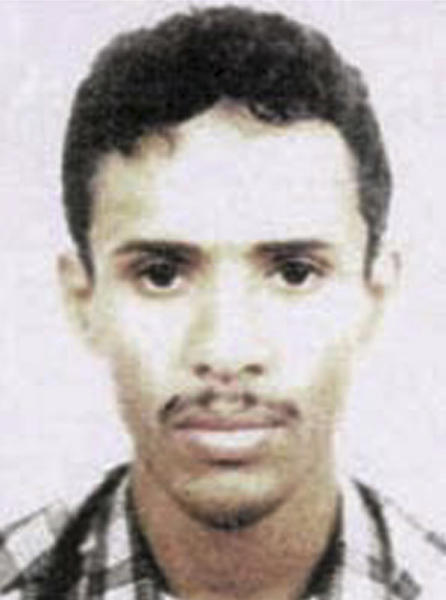 This file photo released by the FBI in 2003 shows Fahd al-Quso, an al-Qaida member charged with helping to plan the attack on the USS Cole that killed 17 American sailors in 2000. Yemeni officials say al-Quso was killed in an airstrike Sunday, May 6.