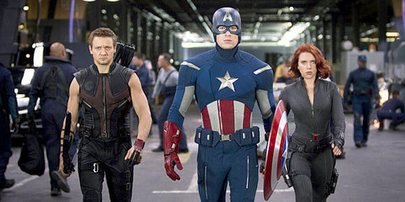 "Hawkeye (Jeremy Renner), left, Captain America (Chris Evans) and Black Widow (Scarlett Johansson) in ""The Avengers."""
