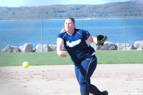 Petoskey senior Ellen Loper pitches during the opening game of Friday's non-league doubleheader against Boyne City at Bayfront Park's Ed White Field.