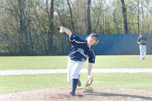 Petoskey senior David Waterson pitches during the opening game of Friday's non-league doubleheader against Boyne City at Turcott Field.