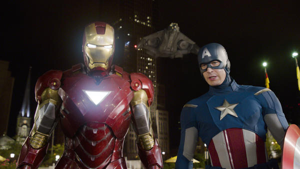 "Iron Man (Robert Downey Jr.) and Captain America (Chris Evans) are just two of the superheroes in ""The Avengers."""