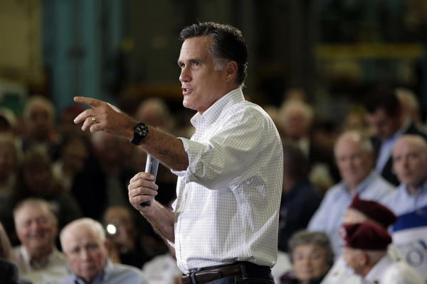 Republican presidential candidate and former Massachusetts Gov. Mitt Romney speaks at a town hall-style meeting in Euclid, Ohio.
