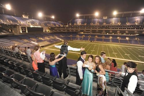 Calvert Hall seniors attend prom at M&T Stadium Saturday night.