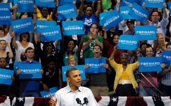 President Obama addresses a campaign rally at the Virginia Commonwealth University on Saturday in Richmond, Va.