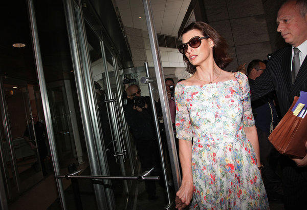 Linda Evangelista appears at Manhattan Family Court.