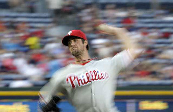 The Philadelphia Phillies' Cole Hamels was suspended Monday for five games for hitting Bryce Harper of the Washington Nationals with a pitch.