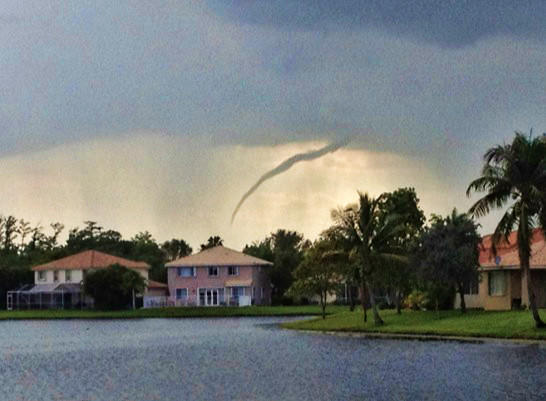 A funnel cloud teased the Everglades in northwest Broward Monday but never touched the ground, according to the National Weather Service.