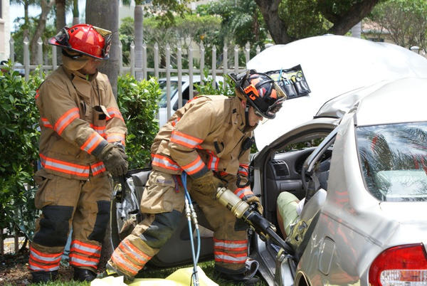 Trapped woman, 73, freed from wrecked car with Jaws of Life