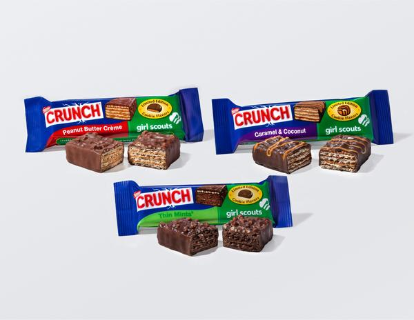 The Nestle Crunch Girl Scout cookie candy bars: Peanut Butter Creme, Thin Mints, Caramel & Coconut