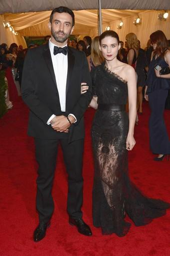 Designer Riccardo Tisci, left and actress Rooney Mara, wearing a design by Tisci for Givenchy.