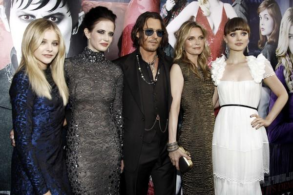 """Dark Shadows"" stars Chloe Grace Moretz, left, Eva Green, Johnny Depp, Michelle Pfeiffer and Bella Heathcote gather at the premiere of the film based on the 1960s soap opera at Grauman's Chinese Theatre in Los Angeles. The Tim Burton-directed film opens in theaters Friday."
