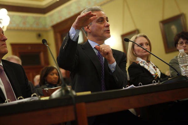 Mayor Rahm Emanuel testifies on pension reform before the Illinois House of Representatives Committee on Personnel and Pensions at the Capitol in Springfield.