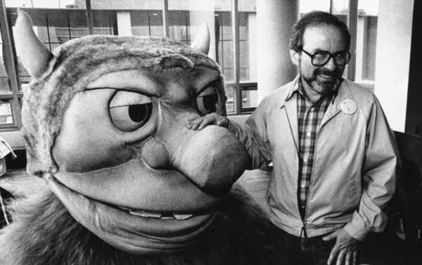 "Maurice Sendak poses with one of the characters from ""Where the Wild Things Are"" on Sept. 25, 1985. The character was one of several designed for the operatic adaptation of his book."