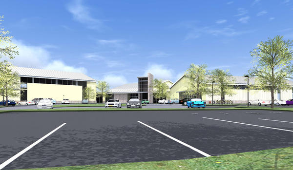 The new building at the proposed Towson Family Center Y, shown here in a rendering, would feature two pools, including a saltwater one, a climbing wall and a larger fitness room.