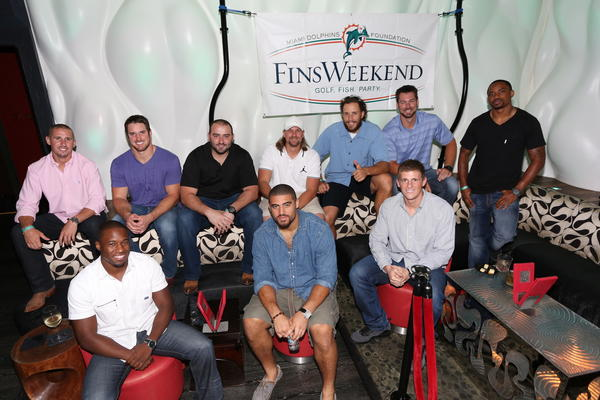 "Brian Hartline, top left, Austin Spitler, Ryan Baker, Dan Carpenter, John Denney, Brandon Fields and Marlon Moore; Vince Agnew, bottom left, Jared Odrick and Les Brown promote the Miami Dolphins Foundation's ""FinsWeekend,"" which takes place May 17-19. The three-day extravaganza will feature current players, alumni, coaches, cheerleaders as well as a weekend of golf, fishing and celebrities."