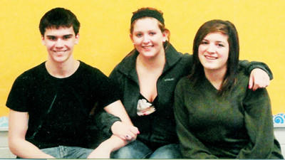 Five members of the Gaylord Forensics Team, Parker Paxson, Rachael LaCross, Bri Hjrese (l-r), Josh Nivison and Allison Cavanaugh (not pictured), qualified for the 2012 Forensics State Finals. Courtesy photo