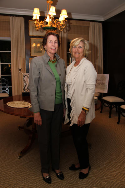 "Kae Cundey, left, and Betsy Maloney at the kickoff to the South Florida Science Museum's ""Edgar Mitchell Science Lecture Series,"" which took place at the Royal Poinciana Chapel located in Palm Beach."