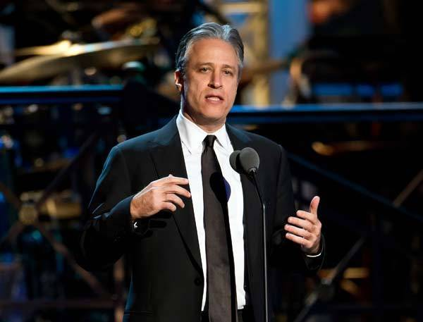 Comedian Jon Stewart speaks onstage at The Comedy Awards 2012 at Hammerstein Ballroom on April 28, 2012 in New York City.