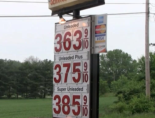 May's Service Station at the intersection of Sharpsburg Pike and Lappans Road was selling regular grade at $3.63 per gallon on Tuesday. Plus grade was $3.75 and 92-octane supreme grade $3.85 per gallon.