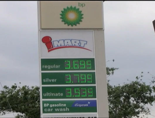 The BP Station on Maugans Avenue off Interstate 81 at Exit 9 was selling regular grade at $3.69, silver grade at $3.79 and 93-octane ultimate grade at $3.93 per gallon.