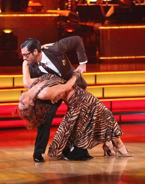 "Melissa Gilbert and Maksim Chmerkovskiy compete on ""Dancing With the Stars."""