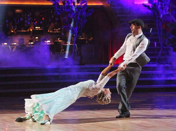 "Katherine Jenkins and Mark Ballas compete on ""Dancing With the Stars."""