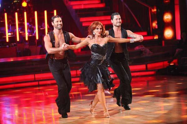 "Melissa Gilbert, Maksim Chmerkovskiy and Val Chmerkovskiy compete in the Trio dance on ""Dancing With the Stars."""