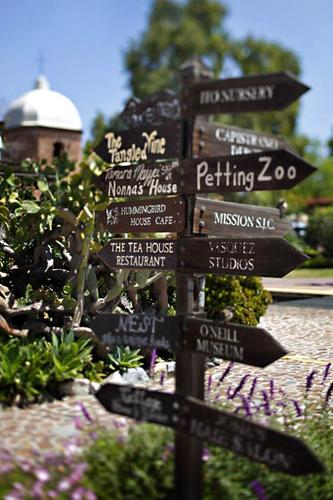 The signs point to a variety of attractions around the Los Rios Street Historic District in San Juan Capistrano.