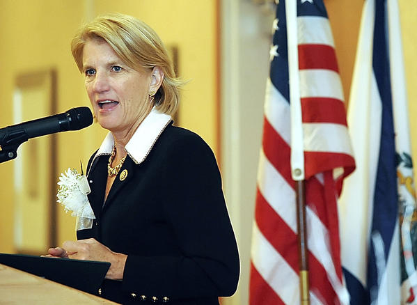 In this file photo, U.S. Rep. Shelley Moore Capito, R-W.Va., speaks during the Shawnee Council of the Girl Scouts' Women of Distinction luncheon in Martinsburg, W.Va.