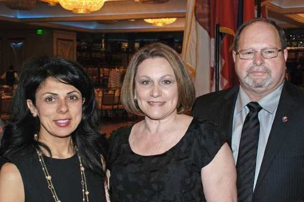 ANC Banquet Chair Souzy Ohanian, left with the evenings Legislator of the Year honoree, City Clerk Margarita Campos and her husband, Vince.