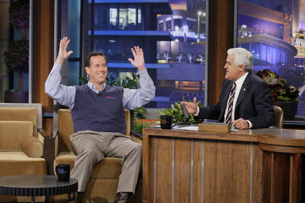 "Rick Santorum appears on NBC's ""Tonight Show with Jay Leno."""