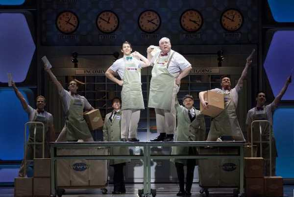 "Nick Jonas and Rob Bartlett perform in a scene from ""How to Succeed in Business Without Really Trying"" at the Al Hirschfeld Theatre in New York."
