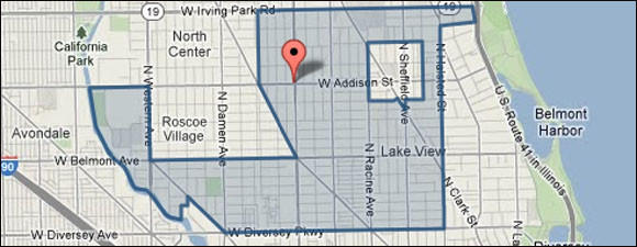 Map of a shooting at a Lakeview neighborhood gas station.