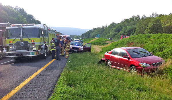 The driver of this Toyota Corolla which went off Interstate 70 near Mapleville Road on Wednesday morning was taken to Meritus Medical Center.