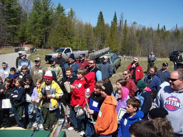 Area youth gather at the end of the 2010 Youth Fishing Clinic, hosted by the Miller-Van Winkle Chapter of Trout Unlimited and the Department of Natural Resources. The clinic takes place annually at the Oden State Fish Hatchery Visitor Center.